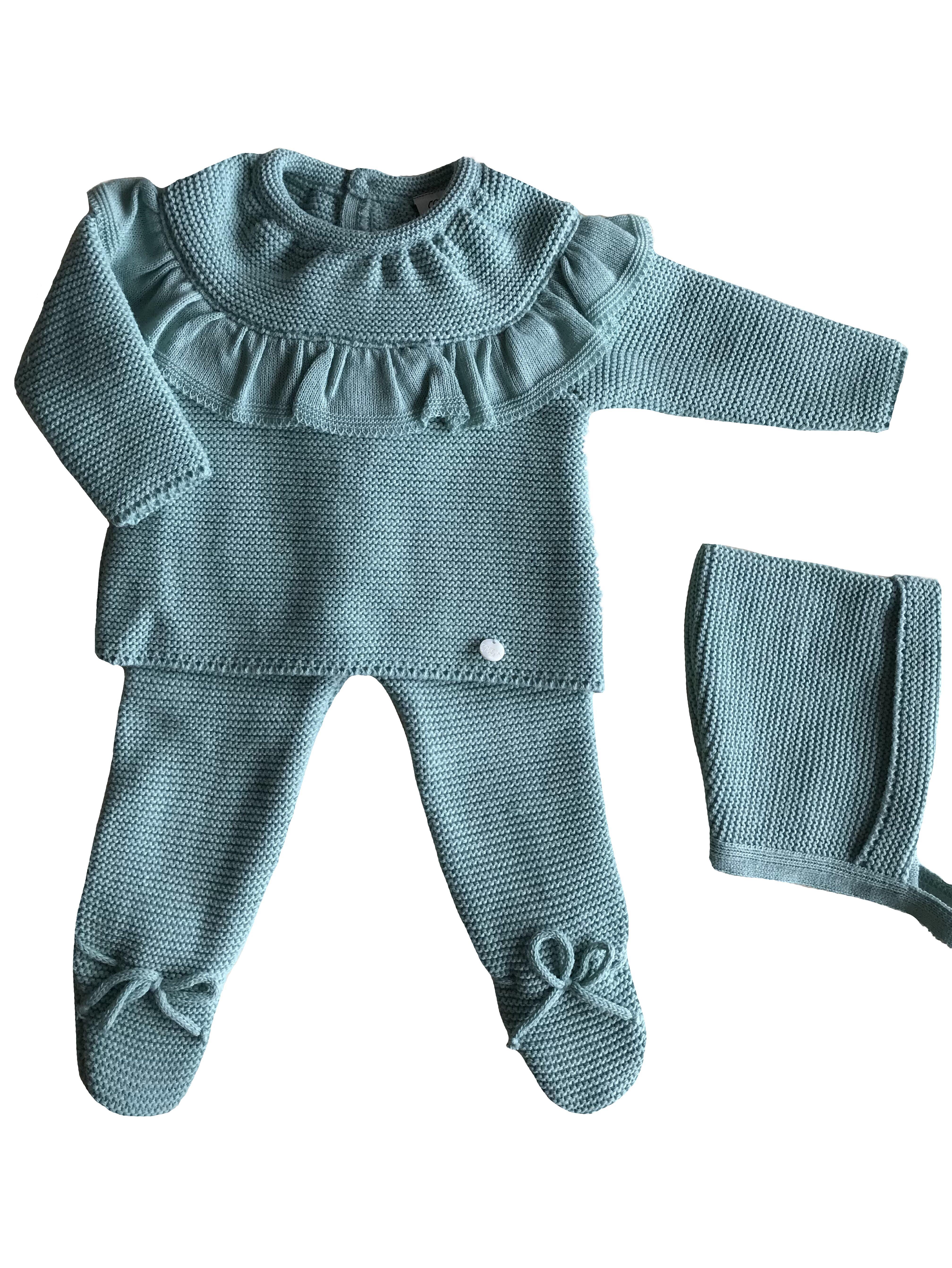 Conjunto jersey volante con polaina a juego en color verde tallas 0 3 6 meses cotton bebe - Heces color verde bebe 2 meses ...